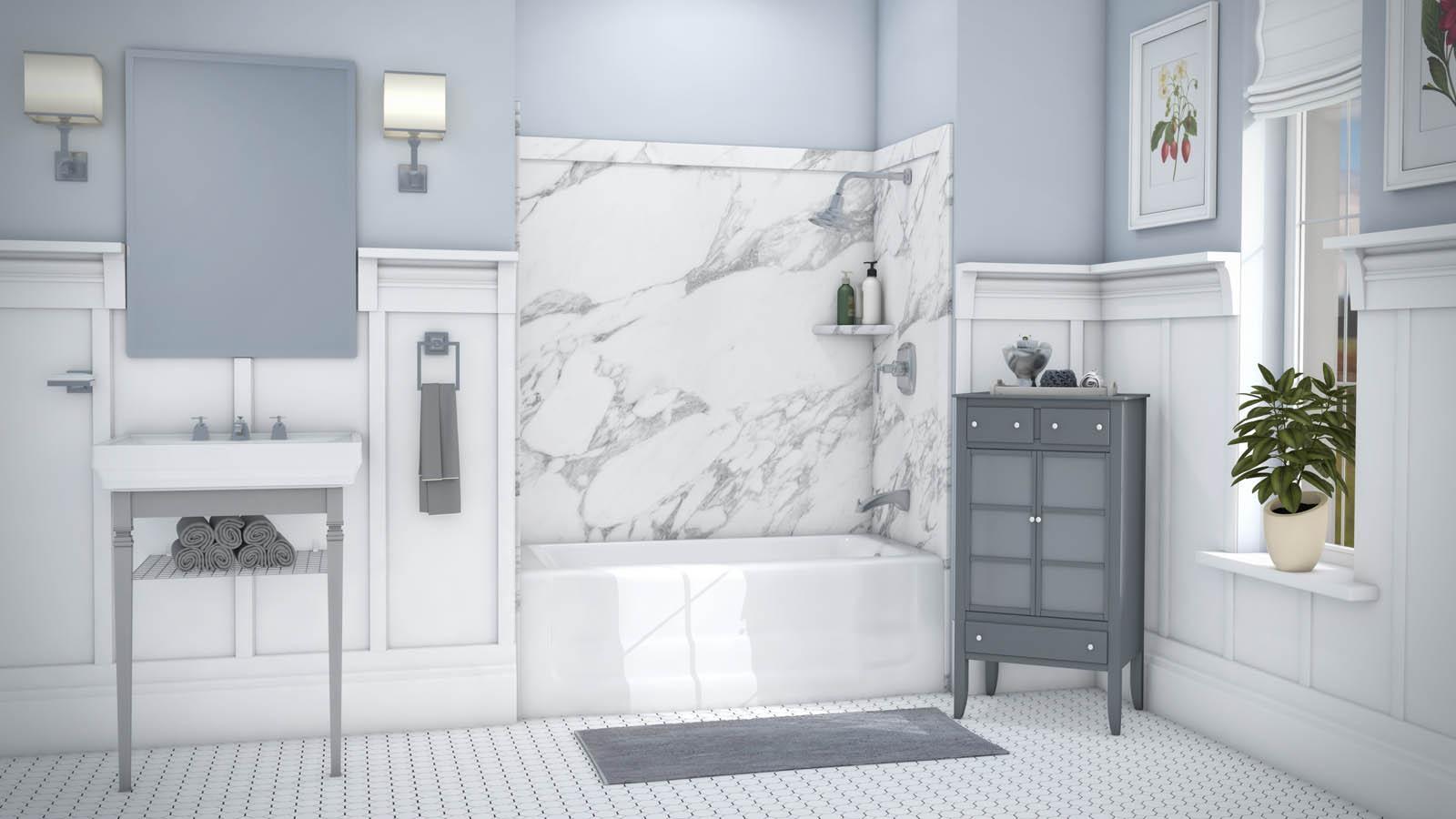 Calacatta white elite full leak detection drain for Bathroom remodel henderson nv